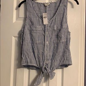 American Eagle striped blue tie front tank top